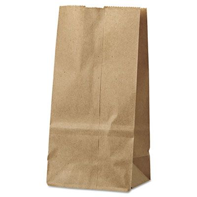 "General GK2500 2 lb Paper Grocery Bags, 30#, 4-5/16"" x 2-7/16"" x 7-7/8"", Kraft - 500 / Case"