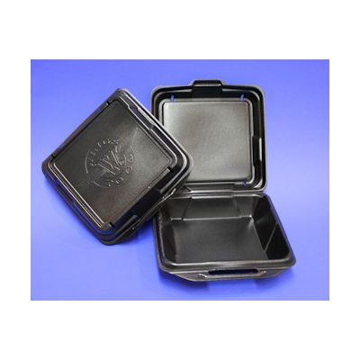 "Genpak 20010VBK Large Wings to Go Foam Hinged Containers, 9.25"" x 9.25"" x 3"", Black - 200 / Case"