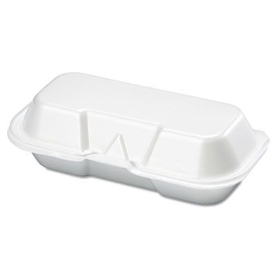 "Genpak 21100 Hot Dog Containers, Foam, 7-3/8"" x 3-9/16"" x 2-1/4"", White - 500 / Case"