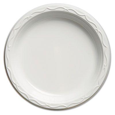 """Genpak 70900 Aristocrat 9"""" Plastic Plates, High Impact, White - 500 / Case"""