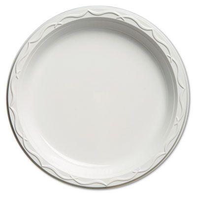 """Genpak 71000 Aristocrat 10.25"""" Plastic Plates, White - 500 / Case"""