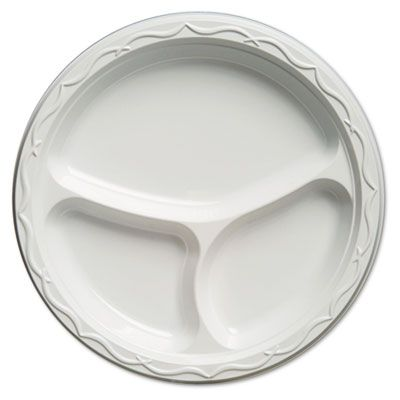 """Genpak 71300 Aristocrat 10.25"""" High Impact Plastic Plates with 3 Sections, White - 500 / Case"""