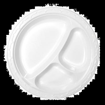 "Genpak 73900 Aristocrat 9"" Plastic Plates with 3 Sections, White - 500 / Case"