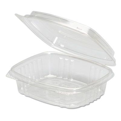 "Genpak AD08F 8 oz Plastic Hinged Deli Containers, APET, 5-3/8"" x 4-1/2"" x 2"", Clear - 200 / Case"
