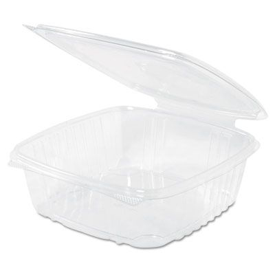 "Genpak AD48 Plastic Hinged Deli Container, 48 oz, 8"" x 8-1/2"" x 2-1/2"", Clear - 200 / Case"