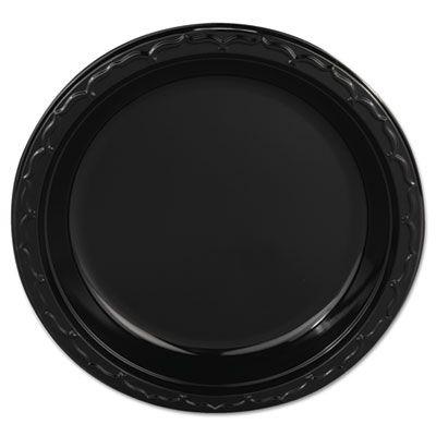 """Genpak BLK09 Silhouette 9"""" Plastic Plates, Black - 400 / Case"""