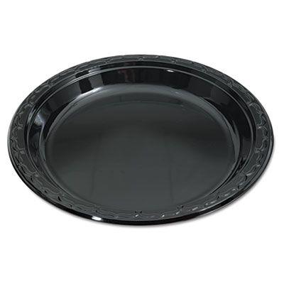 """Genpak BLK10 Silhouette 10.25"""" Plastic Plates, Black - 400 / Case"""