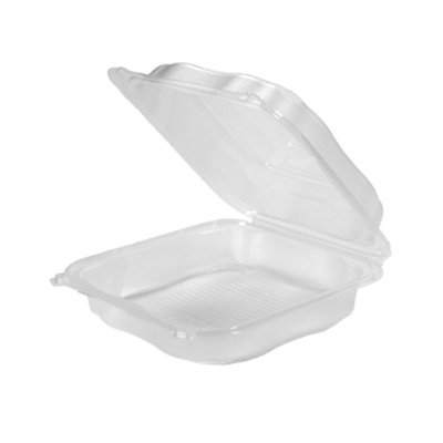 "Genpak CLX199-CL Clover Hinged Lid Carryout Container, Polypropylene, 9.23"" x 9.23"" x 3"", Clear - 150 / Case"