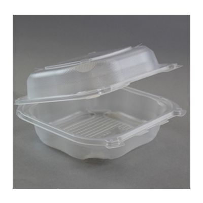 "Genpak CLX200-CL Large Hinged Lid Plastic Carryout Container, Polypropylene, 8.35"" x 8.32"" x 2.88"", Clear - 150 / Case"