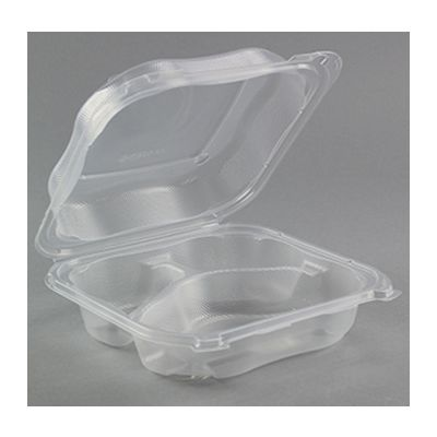 "Genpak CLX203-CL Clover Large Hinged Lid Plastic Carryout Container, 3 Compartment, Polypropylene, 8.35"" x 8.32"" x 2.88"", Clear - 150 / Case"