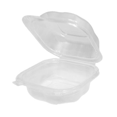 "Genpak CLX225-CL Clover Sandwich Hinged Plastic Container, Polypropylene, 5.84"" x 6.25"" x 2.88"", Clear - 400 / Case"