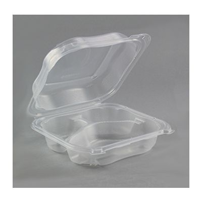 "Genpak CLX243-CL Clover Medium Hinged Lid Plastic Carryout Container, 3 Compartment, 7.5"" x 7.5"" x 2.88"", Clear - 150 / Case"