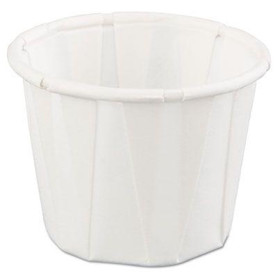 Genpak F075 0.75 oz Squat Paper Portion Cup, White - 5000 / Case