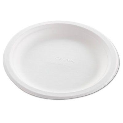 """Genpak HF809 8.75"""" Harvest Molded Fiber Plates, Natural White - 500 / Case"""
