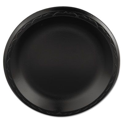 "Genpak LAM093L 8.88"" Elite Laminated Foam Plates, Black - 500 / Case"