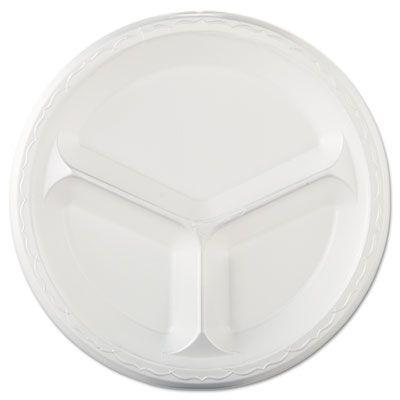 """Genpak LAM13 10.25"""" Elite Laminated Foam Plates, 3 Compartment, White - 500 / Case"""