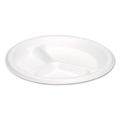"Genpak LAM39 8.88"" Elite Laminated Foam Plates, 3 Compartment, White - 500 / Case"