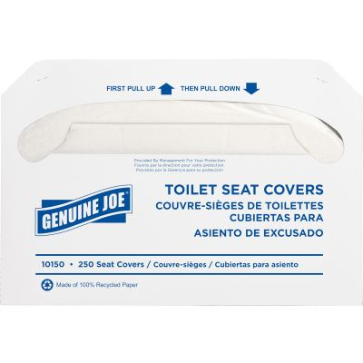 Genuine Joe 10150 Toilet Seat Covers, White - 2500 / Case