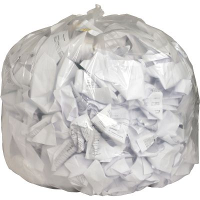 "Genuine Joe 1016 56 Gallon Trash Can Liners / Garbage Bags, 0.8 Mil, 43"" x 48"", Clear - 100 / Case"