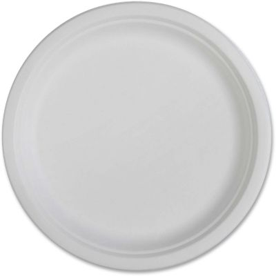 "Genuine Joe 10218 10"" Compostable Paper Plates, White - 500 / Case"