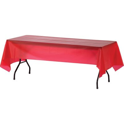 "Genuine Joe 10326 Plastic Table Covers, 54"" x 108"", Red - 24 / Case"