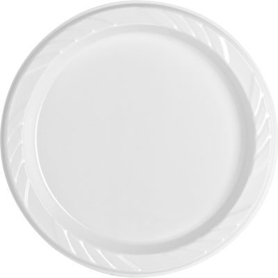 "Genuine Joe 10327 6"" Plastic Plates, White - 500 / Case"