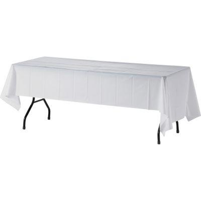 "Genuine Joe 10328 Plastic Table Covers, 54"" x 108"", White - 24 / Case"