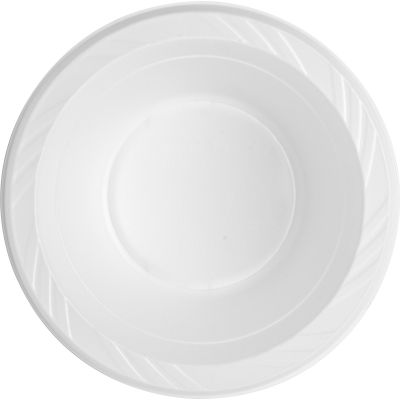 Genuine Joe 10424 12 oz Plastic Bowls, White - 125 / Case