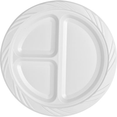 """Genuine Joe 10425 9"""" Plastic Plates with 3 Sections, White - 125 / Case"""