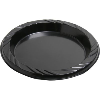 "Genuine Joe 10427 6"" Plastic Plates, Black - 1000 / Case"