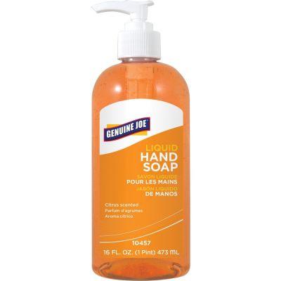 Genuine Joe 10457 Moisturizing Liquid Hand Soap, Citrus, 16 oz Pump - 12 / Case
