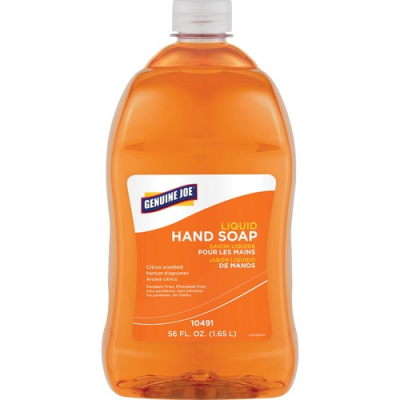 Genuine Joe 10491 Liquid Hand Soap, Citrus Scent, 56 oz Refill Bottle, Orange - 4 / Case