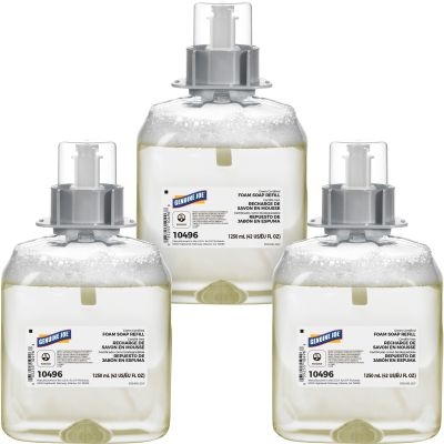 Genuine Joe 10496 Foaming Hand Soap Dispenser Refill, Unscented, 1250 ml Cartridge - 3 / Case
