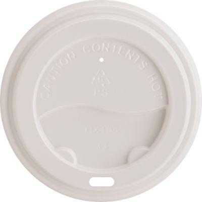 Genuine Joe 11259 Lids for 10-16 oz Ripple Paper Hot Cups, White Plastic - 1000 / Case