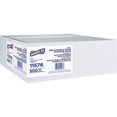 Genuine Joe 11576 Quart Reclosable Plastic Food Storage Bags, 1.75 Mil, Clear - 500 / Case
