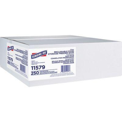 Genuine Joe 11579 1 Gallon Freezer Storage Bags, 2.7 Mil, Clear - 250 / Case