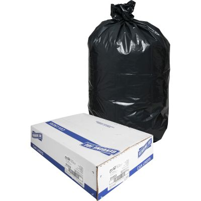 "Genuine Joe 01533 31-33 Gallon Trash Can Liners / Garbage Bags, 1.5 Mil, 33"" x 40"", Black - 100 / Case"
