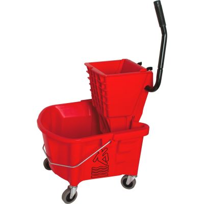 Genuine Joe 18800 Mop Bucket / Wringer, Splash Guard, 26 Quart, Red - 1 / Case
