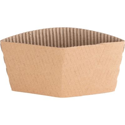 Genuine Joe 19049 Hot Cup Sleeves for 10-16 oz, Corrugated, Brown - 1000 / Case