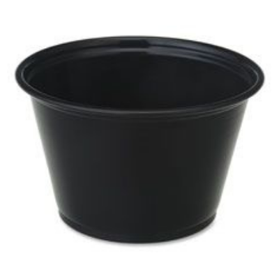Genuine Joe 19068 4 oz Plastic Portion Cups, Polystyrene, Black - 2500 / Case