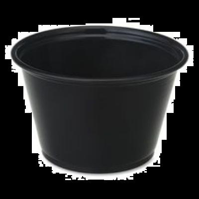 Genuine Joe 19068 4 oz Plastic Portion Cups, Polystyrene, Black - 2500 / Case