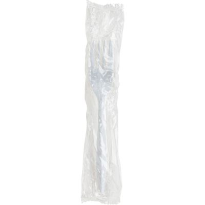 Genuine Joe 20005 Wrapped Plastic Forks, Medium Weight, White - 1000 / Case