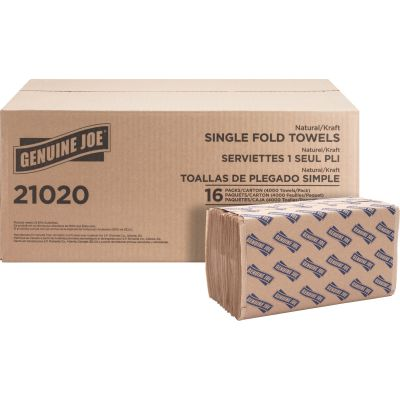 """Genuine Joe 21020 Singlefold Paper Hand Towels,10.25"""" x 9.1"""", Brown - 4000 / Case"""