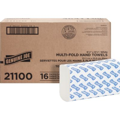 "Genuine Joe 21100 Multifold Paper Hand Towels, 9-1/2"" x 9-1/8"", White - 4000 / Case"