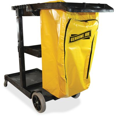 "Genuine Joe 2342 Janitor's Cart, 20.5"" x 40"" x 38"", Charcoal / Yellow - 1 / Case"