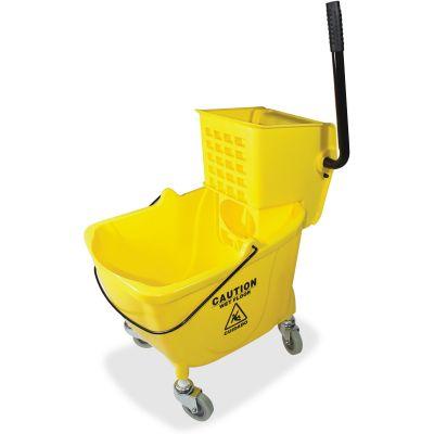 "Genuine Joe 2347 Mop Bucket / Wringer Combo, Sidepress, 16"" x 14"" x 21"", Yellow - 1 / Case"