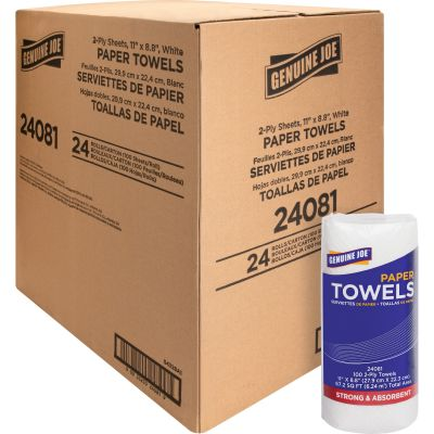 "Genuine Joe 24081 Kitchen Roll Paper Towels, 2 Ply, 11"" x 9"", 100 Sheets / Roll, White - 24 / Case"