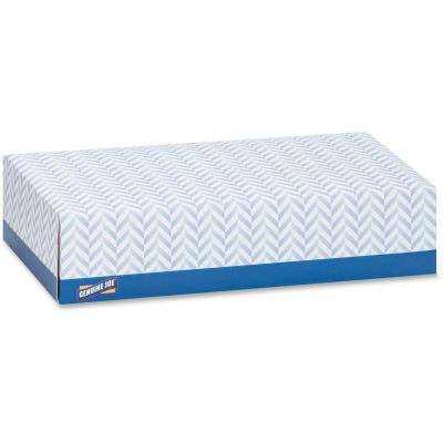 Genuine Joe 26100 Facial Tissue, 2 Ply, Recycled, 100 Sheets / Flat Box, White - 30 / Case