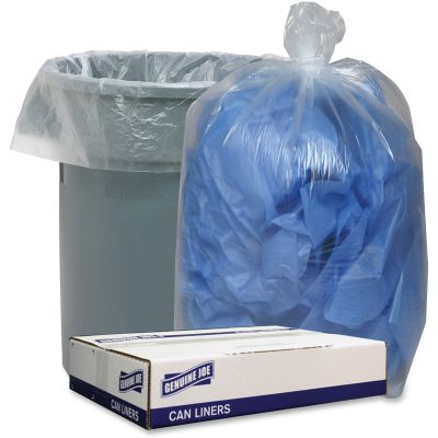 """Genuine Joe 29127 60 Gallon Trash Can Liners / Garbage Bags, 1.1 Mil, 38"""" x 58"""", Clear - 100 / Case"""
