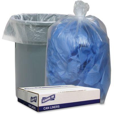 "Genuine Joe 29133 Trash Can Liners / Garbage Bags, 1.75 Mil, 38"" x 58"", Clear - 100 / Case"